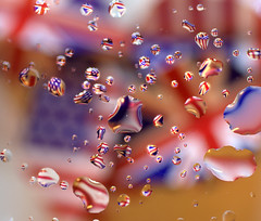 Flying Flags (Explored) #30 18/1/12 (pollylew) Tags: uk glass reflections nikon colours flags unionjack waterdroplets starsandstripes refractions lightrays
