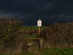 There may be trouble ahead...... (Alastair Wood) Tags: warning crossing hampshire footpath stile ropley alresford watercressline