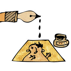 138.The ink dripping off from a pen tip (yagiwataru) Tags: illustration pen ink drip tip