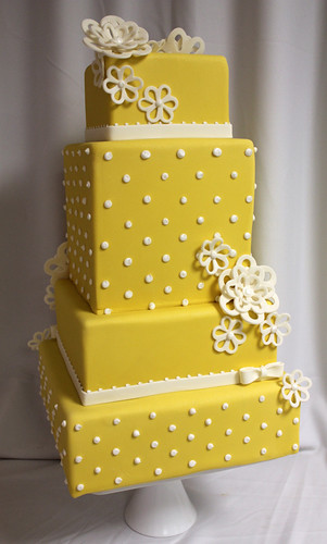 Sunshine Yellow Dot Wedding Cake