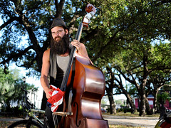 David, Washington Square Park, Marigny (Steve Spehar) Tags: trees portrait musician usa white color digital portraits 35mm louisiana icons downtown afternoon exterior flag washingtonsquarepark neworleans americanflag identity american passerby youngman citypark marigny spontaneous residents resident standupbass portraitseries streetmodels flagproject