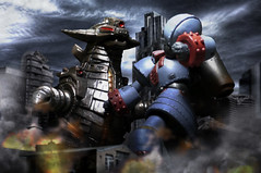 Giant Robo vs Grand King (Jova Cheung) Tags: monster giantrobot toys fight battle gr yamato kaiju ultraman giantmonster chogokin soulofchogokin superrobot  giantrobo theanimation grandking