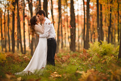 Passion (Dan. D.) Tags: portrait tree male fall love dan female canon landscape groom bride leaf engagement mood passion lover weeding desroches