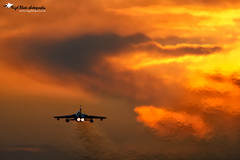 RAF Tornado GR4 departing Marham (Nigel Blake, 12 MILLION...Yay! Many thanks!) Tags: sunset red orange yellow canon photography flying is haze fighter aircraft aviation military air flight jet heat jelly blake tornado nigel f4 raf mkiii eos1ds panavia gr4 600mm marham jellyair