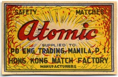 Atomic Safety Matches (Alan Mays) Tags: old red yellow clouds vintage ads paper advertising typography hongkong smoke radiation ephemera type labels explosions matches advertisements atomic fonts printed borders factories typefaces manufacturers matchboxlabels atombombs matchboxes mushroomclouds safetymatches poeng abombs matchfactories hongkongmatchfactory poengtrading