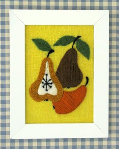 vintage crewel pears kit