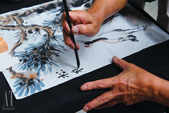 Chinese Ink Painting (Alphone Tea) Tags: life light red favorite white black color art closeup ink painting paper print photography daylight photo amazing singapore asia bright image bokeh drawing traditional great chinese perspective culture newyear brush mandarin 2012 1755 handhold 60d