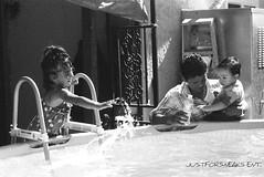 Splishing the Splash (JustForSneaks Ent.) Tags: summer film water children kodak tmax swimmingpool sanfernandovalley 100iso