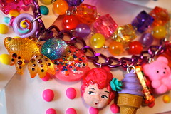 Candy Carnival Cutie Triple Stacked Charm Bracelet - Candy Resin and Cupcake Sprinkle - Kitsch Kawaii and Glitter Resin - Candy Glam (athinalabella1) Tags: carnivalcutie ring pop candy glam lollipop bling cupcakesprinkles rainbow colorful sweet neon yellow girlygirl kawaii cute lolita whimsical athinalabella etsy jewelry marieantoinette cake heart pink hearts yum yummy sugar pearls glitter kitsch neovictorian funky licorice confettisprinkles shabby chic fantasy ribbons bow costume valentines conversationhearts sweethearts ribbon bows bakery glass pedestal marie antoinette cameo tulle drama couture french frou frilly parisian princess spring paris suga mama gumballs dots cupcake gummi bears keroppi unicorn carousel pony