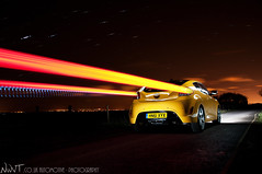 Yellow 2012 Hyundai Veloster Has Arrived (NWVT.co.uk) Tags: uk light car yellow photography star long exposure photographer williams painted nick rear trails automotive trail worldwide quarter hyundai has arrived 2012 veloster nwvt