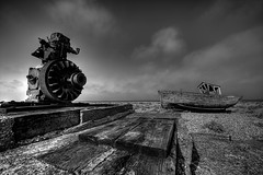 Out of order.... (Mark Leader) Tags: wood uk bw white black texture beach clouds canon eos mono coast boat kent fishing exposure mark grain pebbles machinery shore leader dungeness winch planks 40d