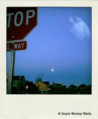 Oregon Landscape with Celestial Accompaniment (Doyle Wesley Walls) Tags: houses moon nature oregon landscape evening space cellphone stopsign photograph nightsky lagniappe poladroid 0138 doylewesleywalls oregonlandscapewithcelestialaccompaniment