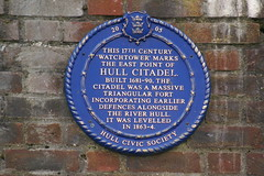 Photo of Hull Citadel blue plaque