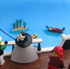 Quest for the Fountain of Youth - Part II - The Captain's Boat (Robert4168/Garmadon) Tags: blue white island captains boat ship lego journal perspective rail telescope captain cloak forced isle cato nellisa eslandola brethrenofthebrickseas calrelli