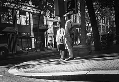 The Art Of Patience (TMimages PDX) Tags: road street city people urban blackandwhite monochrome buildings portland geotagged photography photo image streetphotography streetscene sidewalk photograph pedestrians pacificnorthwest avenue vignette fineartphotography iphoneography