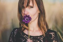 Audrey (Pauline L..) Tags: sunset portrait woman sun sunlight cold flower nature girl beauty fashion spring nikon outdoor violet 85mm poetic fragile d600 samyang
