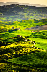 Val d'Orcia (Tej Utah) Tags: sunset italy green heritage landscape hill roadtrip tosca unesco highland tuscany valdorcia lightpaint cityescape