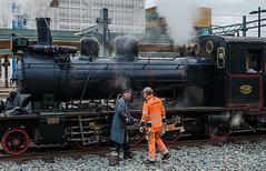 Predeparture preparation (paulius.malinovskis) Tags: man beautiful train spring sweden sony steam explore crew uppsala oil discussion scandinavia agathachristie uppland olftimes