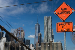 Proceed with caution (robe_mac) Tags: city urban newyork building skyline architecture skyscraper arquitectura cityscape manhattan bluesky urbanscape nuevayork oneworld rascacielo