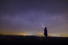 Look to the Skies and See (sianybishop) Tags: countryroad ammonford swansea swanseavale south wales southwales uk night dark may 2016 spring countryside road windfarms cold canon canoneos550d eos550d eos 550d longexposure stars stargazing astronomy milky way milkyway light man alone torch headtorch silhouette pollution horizon up look looking time