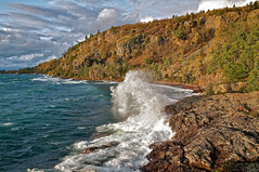 wind and waves, gros cap, ontario (twurdemann) Tags: autumn sky cliff seascape ontario storm beach weather clouds evening rocks waves wind crash shoreline spray greatlakes whitefishbay soo lakesuperior precambrian canadianshield groscap princetownship archeangranite