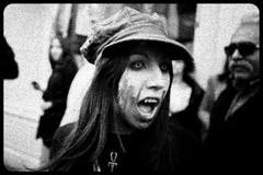 Zombie Walk (096) - 23Oct11, Paris (France) (]) Tags: portrait blackandwhite bw woman paris cute sexy girl dead death scary blood noiretblanc zombie walk mort teeth fear grain makeup nb parade spooky cap panic gore horror terror casquette sang maquillage marche dents lense horreur lentille peur livingdead terreur panique zombiewalk effrayant mortvivant