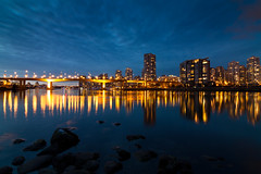 Blue & Gold (tylermielnichuk) Tags: longexposure blue winter canada vancouver canon gold lights bc 7d falsecreek bluehour cambiestreet tokina1116mmf28