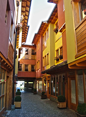 Gjakova/Dakovica, Kosovo/Serbia (Ferry Vermeer) Tags: street colors yellow facade alley colours serbia facades alleyway kosova kosovo balk