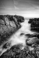 The rough and the smooth (Thomas Leth-Olsen) Tags: longexposure bw seascape nature rocks whitewater capdantibes sharpened silkywater