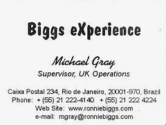BIGGS AUTHOR: BUSINESS CARD (THE INSIDE STORY 2009) Tags: ronnie biggs