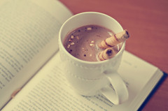Hot Chocolate (Kris Oneal Photography) Tags: reading book hotchocolate marshmallows