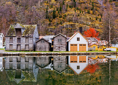 Old Town Reflections (John & Tina Reid) Tags: autumn norway travelphotography sognfjord laerdal norwegiandesign jonreid tinareid norwegianarchitecture httpnomadicvisioncom norwayvillage