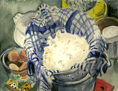 Ricotta, Freshly Made for Cheese Blintzes (Marcia Milner-Brage) Tags: stilllife food cooking watercolor ricotta brushpen cheesemaking blintzes