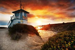 This Sunset is Off Limits (Extra Medium) Tags: sunset orange sand lifeguardtower leocarrillostatebeach