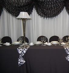 Black and White Decor (So Handy) Tags: wedding blackandwhite table display backdrop setup decor gala lightcurtain whitenapkin whitesash handyspecialeventsevents handymanrentals chivairichair brocaderunner eyelashcloth diamonddecorring