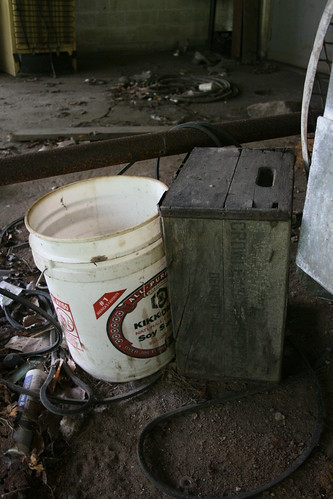 Old milk crate and bucket