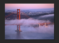 Fog Beginning (RZ68) Tags: california bridge light sunset sun film fog set golden evening bay gate san francisco marin low foggy velvia hour headlands 6x7 provia presidio raking ggnra e100 rz68