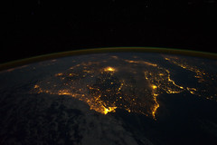 Iberian Peninsula at Night (NASA, International Space Station, 12/04/11) (NASA's Marshall Space Flight Center) Tags: madrid africa france portugal spain earth lisbon seville nasa limb gibraltar andorra pyrenees mediterraneansea iberianpeninsula internationalspacestation earthatnight airglow stationscience crewearthobservation stationresearch