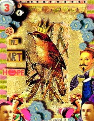 me art hope (briedah) Tags: bird art collage vintage hope gold wings buttons 8ball snazzy numerology 138 crowabout pse8 briedah