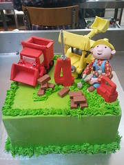 Square Wicked Chocolate cake iced in green butter icing decorated with 3D Bob the Builder, Muck & Lofty figurines, fondant bricks & 3D red #2 (Charly's Bakery) Tags: birthday cake kids town tv chocolate bob wicked angels bakery reality cape builder charlys