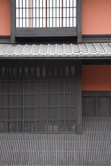 exterior details of Kyoto machiyas (AsianInsights) Tags: wood house detail japan wall architecture japanese kyoto exterior traditional grain plaster oldtown teahouse lattice machiya oldquarter