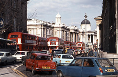 Trafalgar Square traffic jam, April 1976 (David Rostance) Tags: 3 london car trafalgarsquare 15 route routemaster pallmall sw1 renault5 fordcortina fordanglia
