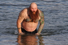 OOO ITS COLD! (MIKECNY) Tags: winter hairy cold beach water tattoo swim beard fun crazy lakegeorge shock chilly polarplunge