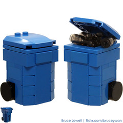 LEGO Recycling Bin (Blue) (bruceywan) Tags: blue sculpture green wheel trash yard lego can bin container waste recycle recycling rolling photostream moc brucelowellcom