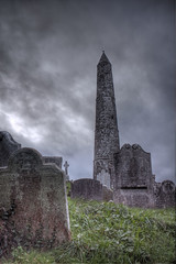 Round tower and old headstone (kieran behan) Tags: ireland tower cemetery canon headstone gravestone hdr waterford roundtower 550d ardmoer