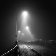 midnight encounters (StephenCairns) Tags: road bridge blackandwhite bw black texture japan fog night fence lights smooth rail sidewalk  handrail    gifu    motosu    30mmsigmaf14 canon50d stephencairns 50dcanon