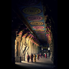 Approaching GOD - Temple Friday!!! (VinothChandar) Tags: light shadow people india color canon walking temple photography photo colorful god photos walk vibrant prayer amman corridor vivid lord 5d pillars madurai prayers tamilnadu corridors meenakshi sundareswarar maduraimeenakshiamman templefriday