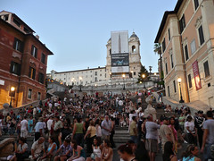 Spanish Steps, Rome, Italy (Ferry Vermeer) Tags: italien italy rome roma church architecture evening italia day crowd billboard stairway advertisement clear piazzadispagna busy obelisk capitalis
