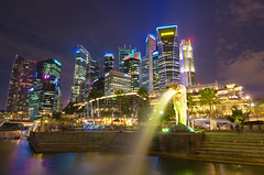 Singapore Skyline (Wang Guowen (gw.wang)) Tags: lighting longexposure reflection nikon singapore cityscape nightshot postcard firework 2012 singaporeskyline digitalblending cs5 marinabaysands d7000 tokinaaf1116mmf28 tokinaatx116f28 blinkagain gwwang wwwon9cloudcom