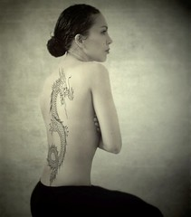 The girl with the dragon tattoo ;) (sole) Tags: portrait woman beautiful beauty dutch tattoo female canon back mujer model body femme chinese sensual spanish mysterious rug latina brunette vrouw amada sole carmengonzalez sweetandsexy thegirlwiththedragontattoo carmengonzalezphotography